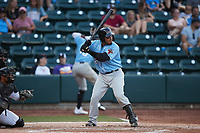 Isaias Quiroz (22) of the Hickory Crawdads at bat against the Winston-Salem Dash at Truist Stadium on July 10, 2021 in Winston-Salem, North Carolina. (Brian Westerholt/Four Seam Images)