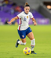 ORLANDO, FL - JANUARY 22: Ali Krieger #11 of the USWNT dribbles during a game between Colombia and USWNT at Exploria stadium on January 22, 2021 in Orlando, Florida.