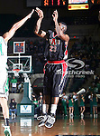 Arkansas State Red Wolves guard Donald Boone (23) shoots a jump shot during the NCAA  basketball game between the Arkansas State Red Wolves and the University of North Texas Mean Green at the North Texas Coliseum,the Super Pit, in Denton, Texas. UNT defeated Arkansas State 83 to 64..