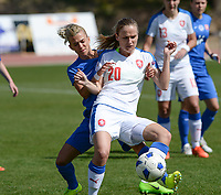 20180307 - LARNACA , CYPRUS :  Slovakian Patricia Hmirova (left) pictured in a duel with Czech Pavlina Nepokojova (r) during a women's soccer game between  Slovakia and the Czech Republic , on Wednesday 7 March 2018 at the GSZ Stadium in Larnaca , Cyprus . This is the final game in a decision for 9 th or 10 th place of the Cyprus Womens Cup , a prestigious women soccer tournament as a preparation on the World Cup 2019 qualification duels. PHOTO SPORTPIX.BE   DAVID CATRY