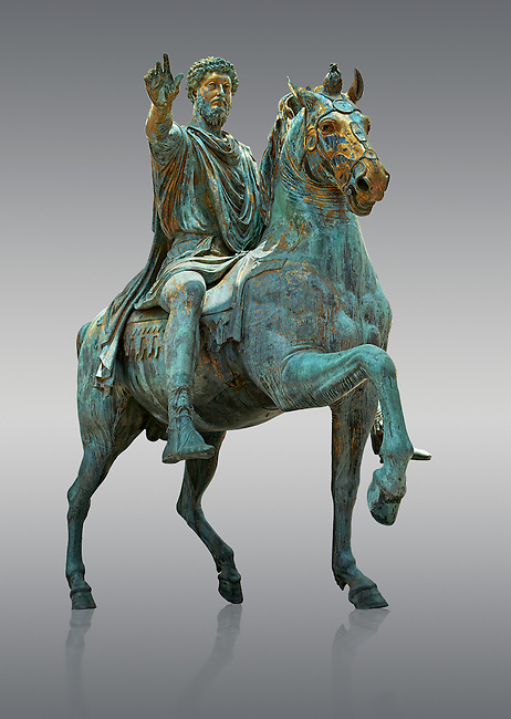 Original Roman bronze statue of Emperor Marcus Aurelius on horseback. 175 AD. Marcus Aurelus was the last of the Five Good Emperors, and is also considered one of the most important Stoic philosophers. In 1979 it was discovered that the the equestrian statue of Marcus Aurelius, in the courtyard of the Capitline Museum, had suffered badly from corrosion, particularly in its legs. The staue was removed from Michael Angelo's plinth and was transferred to the National Instution for the Restoration of works of art for preservation. On the 11th of April 1990 the restored statue was returned to the Cpitaline courtyard and covered with a glass protective casing. The glass box ruined the design of Michael Angelo's courtyard and it was decided to make a copy to display in the courted and move the original into the Capitoiline Musuem. This is a rare example of a bronze equestrian statue as it became common practice for the Romans in the late empire to melt down bronze statues to mint coins. The Capitoline Museums, Rome