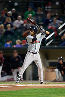 Scranton/Wilkes-Barre RailRiders center fielder Mason Williams (7) at bat during the second game of a doubleheader against the Rochester Red Wings on August 23, 2017 at Frontier Field in Rochester, New York.  Rochester defeated Scranton 1-0.  (Mike Janes/Four Seam Images)