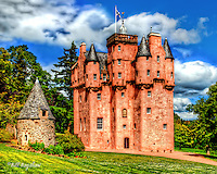 Craigievar the fairytale Scottish Castle on Royal Deeside, Scotland. Craigievar Castle has a fairytale look to it, due to its many turrets and gargoyles. Built on  the L plan it was comleted in 1626. Originally Craigievar Castle was surrounded by 4 round courtyard towers, only one of which remains.<br />