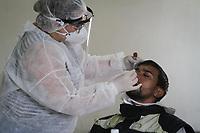 """Campinas (SP), 11/01/2021 - Covid-SP - Em parceria com a Unicamp, o Ministério Público do Trabalho (MPT) realiza testes gratuitos de Covid-19 dos tipos rápido e RT-PCR, no CIS Guanabara em Campinas, interior de São Paulo, nesta segunda-feira (11). o projeto """"Delivery Seguro"""", que possui o mote """"A saúde e a vida dos entregadores importam"""" e tem como objetivo promover ações de saúde e segurança a entregadores de Campinas."""