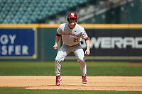 Brady Harlan (21) of the Oklahoma Sooners takes his lead off of first base against the Missouri Tigers in game four of the 2020 Shriners Hospitals for Children College Classic at Minute Maid Park on February 29, 2020 in Houston, Texas. The Tigers defeated the Sooners 8-7. (Brian Westerholt/Four Seam Images)