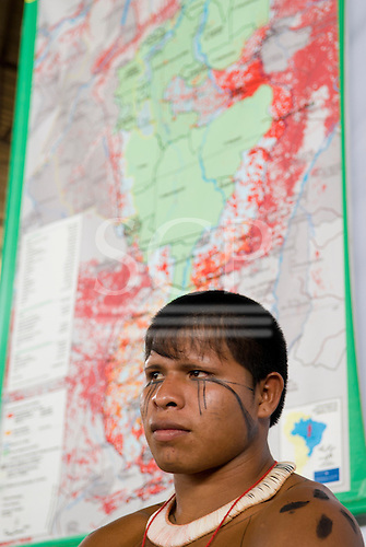 """Altamira, Brazil. """"Xingu Vivo Para Sempre"""" protest meeting about the proposed Belo Monte hydroeletric dam and other dams on the Xingu river and its tributaries. Kumare Matipu."""