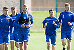 St Johnstone Training….13.09.19     McDiarmid Park, Perth<br />Liam Gordon pictured during this morning's training session ahead of tomorrow's game at Aberdeen with Wallace Duffy, Jason Kerrm Jason Holt and Madis Vihmann<br />Picture by Graeme Hart.<br />Copyright Perthshire Picture Agency<br />Tel: 01738 623350  Mobile: 07990 594431