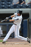 West Michigan Michigan Whitecaps outfielder Cole Bauml (16) swings the bat against the Fort Wayne TinCaps during the Midwest League baseball game on April 26, 2017 at Fifth Third Ballpark in Comstock Park, Michigan. West Michigan defeated Fort Wayne 8-2. (Andrew Woolley/Four Seam Images via AP Images)