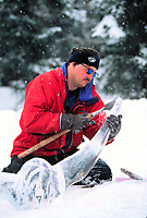 Artist sculpts ice, World Ice Art Championships held each march in Fairbanks, Alaska