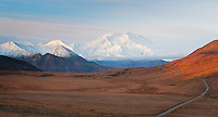 A rare view of Denali (Mt McKinley) at dawn in Denali National Park.