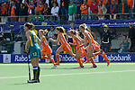 The Hague, Netherlands, June 14: Players of The Netherlands celebrate after winning the field hockey gold medal match (Women) between Australia and The Netherlands on June 14, 2014 during the World Cup 2014 at Kyocera Stadium in The Hague, Netherlands. Final score 2-0 (2-0)  (Photo by Dirk Markgraf / www.265-images.com) *** Local caption ***