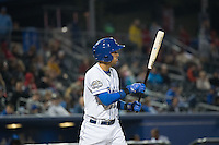 Gabriel Noriega (4) of the Omaha Storm Chasers at bat against the Memphis Redbirds in Pacific Coast League action at Werner Park on April 24, 2015 in Papillion, Nebraska.  (Stephen Smith/Four Seam Images)