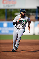Clinton LumberKings first baseman Kristian Brito (23) runs the bases during a game against the West Michigan Whitecaps on May 3, 2017 at Fifth Third Ballpark in Comstock Park, Michigan.  West Michigan defeated Clinton 3-2.  (Mike Janes/Four Seam Images)