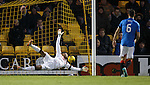 Wes Foderingham is helpless as Myles Hippolyte's shot goes past him for Livingston's goal