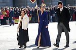 (L to R) Margarita Robles, Margarita Robles, Minister of Defense and Minister of Foreign Affairs; Queen Letizia of Spain and Pedro Sanchez, President of the Government of Spain attend the New Year Military parade 2020 celebration at the Royal Palace. January 6,2020. (ALTERPHOTOS/Pool)