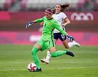 KASHIMA, JAPAN - AUGUST 2: Stephanie Labbe #1 of Canada clears the ball during a game between Canada and USWNT at Kashima Soccer Stadium on August 2, 2021 in Kashima, Japan.