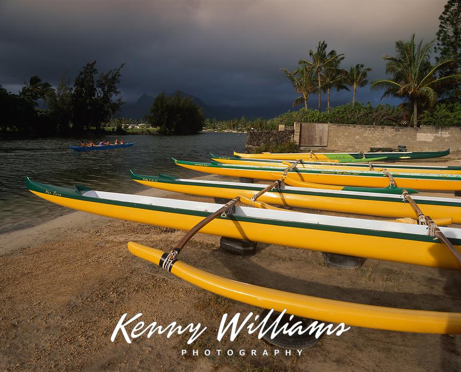 Yellow Hawaiian Outrigger Canoes, Kailua Beach Park, Oahu, Hawaii, USA.