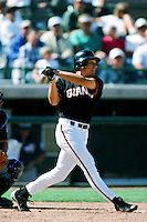 Dan McKinley of the San Francisco Giants bats during a 1999 Major League Baseball Spring Training Game in Phoenix, Arizona. (Larry Goren/Four Seam Images)