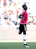 Calcio, Serie A: Roma vs Juventus. Roma, stadio Olimpico, 30 agosto 2015.<br /> Juventus' Paul Pogba warms up prior to the start of the Italian Serie A football match between Roma and Juventus at Rome's Olympic stadium, 30 August 2015.<br /> UPDATE IMAGES PRESS/Isabella Bonotto