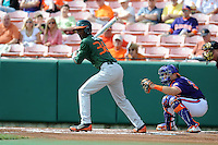 Center Fielder Dale Carey #36 watches a fould ball during a  game against the Clemson Tigers at Doug Kingsmore Stadium on March 31, 2012 in Clemson, South Carolina. The Tigers won the game 3-1. (Tony Farlow/Four Seam Images).