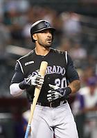 Jun 20, 2019; Phoenix, AZ, USA; Colorado Rockies first baseman Ian Desmond against the Arizona Diamondbacks at Chase Field. Mandatory Credit: Mark J. Rebilas-USA TODAY Sports