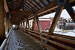 Covered bridge leading to the Littleton Gristmill in Littleton, White Mountain region, NH