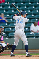 Murray Watts (34) of the Wilmington Blue Rocks at bat against the Winston-Salem Dash at BB&T Ballpark on April 20, 2013 in Winston-Salem, North Carolina.  The Dash defeated the Blue Rocks 4-2 in game one of a double-header.  (Brian Westerholt/Four Seam Images)
