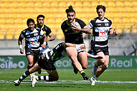 Peter Umaga-Jensen of Wellington is tackled during the Bunnings NPC - Wellington v Hawke's Bay at Sky Stadium, Wellington, New Zealand on Sunday 26 September 2021.<br /> Photo by Masanori Udagawa. <br /> www.photowellington.photoshelter.com