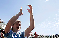 Calcio, Serie A: Roma, stadio Olimpico, 30 aprile 2017.<br /> Lazio's Dusan Basta celebrates after winning the Italian Serie A football match between AS Roma an Lazio at Rome's Olympic stadium, April 30 2017.<br /> UPDATE IMAGES PRESS/Isabella Bonotto