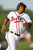 Edward Salcedo #15 of the Rome Braves hustles towards third base against the Greenville Drive at State Mutual Stadium July 24, 2010, in Rome, Georgia.  Photo by Brian Westerholt / Four Seam Images