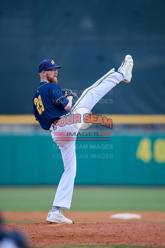 Montgomery Biscuits relief pitcher Travis Ott (28) delivers a pitch during a game against the Biloxi Shuckers on May 8, 2018 at Montgomery Riverwalk Stadium in Montgomery, Alabama.  Montgomery defeated Biloxi 10-5.  (Mike Janes/Four Seam Images)