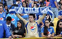 BOGOTÁ-COLOMBIA, 08-09-2019: Hinchas de Millonarios durante partido entre Millonarios y el América de Cali de ida de las semifinales por la Liga Águila Femenina 2019 jugado en el estadio Nemesio Camacho El Campín de la ciudad de Bogotá. / Fans of Millonarios during a match between Millonarios and America de Cali of the semifinals for the 2019 Women's Aguila League played at the Nemesio Camacho El Campin Stadium in Bogota city, Photo: VizzorImage / Luis Ramírez / Staff.