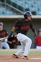 Billy Hamilton #4 of the Bakersfield Blaze bats against the Lancaster JetHawks at Clear Channel Stadium on May 7, 2012 in Lancaster,California. (Larry Goren/Four Seam Images)