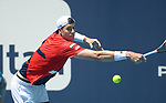 March 26, 2019: John Isner (USA) defeated Kyle Edmund (GBR) 7-6(5), 7-6(3), at the Miami Open being played at Hard Rock Stadium in Miami, Florida. ©Karla Kinne/Tennisclix 2010/CSM