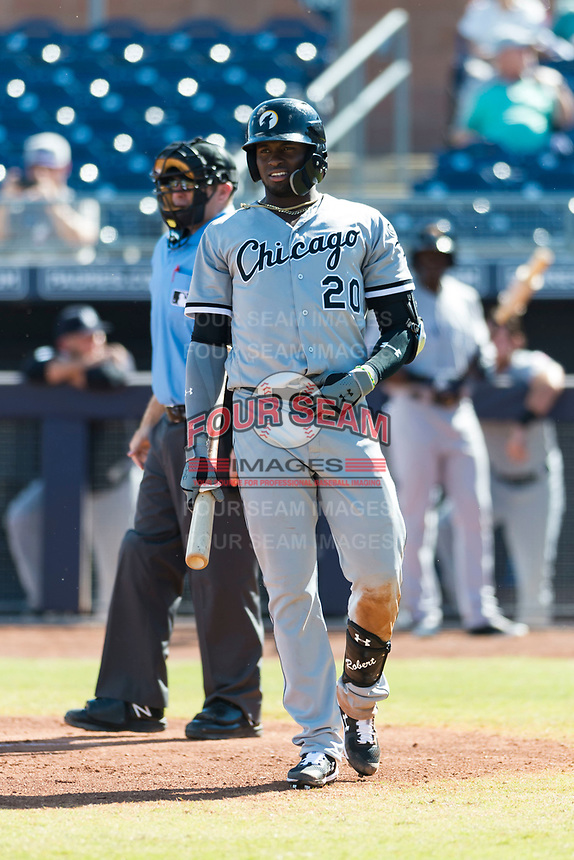 Glendale Desert Dogs designated hitter Luis Robert (20), of the Chicago White Sox organization, steps out of the batters box during an Arizona Fall League game against the Peoria Javelinas at Peoria Sports Complex on October 22, 2018 in Peoria, Arizona. Glendale defeated Peoria 6-2. (Zachary Lucy/Four Seam Images)