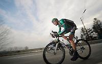 3 Days of De Panne.stage 1: Middelkerke - Zottegem..Damien Gaudin (FRA) racing towards Zottegem