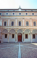 Urbino:  Ducal Palace--Court, elevation.  Photo '83.