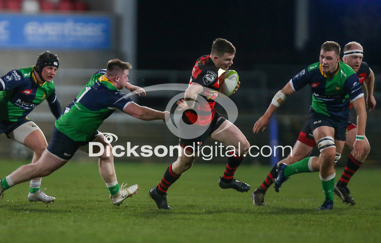 Friday 6th March 2020 | Armagh RFC vs Ballynahinch RFC<br /> <br /> Shea O'Brien on the attack for Armagh during the Bank Of Ireland Ulster Senior Cup Final between the City of Armagh RFC and Ballynahinch RFC at Kingspan Stadium, Ravenhill Park, Belfast, Northern Ireland. Photo by John Dickson / DICKSONDIGITAL