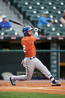 Durham Bulls second baseman Nick Franklin (2) at bat during a game against the Buffalo Bisons on June 13, 2016 at Coca-Cola Field in Buffalo, New York.  Durham defeated Buffalo 5-0.  (Mike Janes/Four Seam Images)