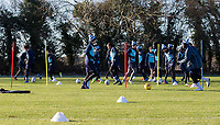 Warm ups during the Wycombe Wanderers Training session at Wycombe Training Ground, High Wycombe, England on 17 January 2019. Photo by Andy Rowland.