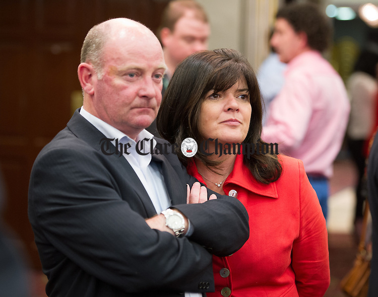 Clare Colleran Molloy of Fianna Fail with her husband Tony Molloy during the election count at The West county Hotel, Ennis. Photograph by John Kelly.