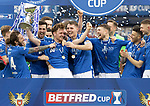 Livingston v St Johnstone …28.02.21   Hampden   BetFred Cup Final<br />Liam Craig and team mates celebrate after winning the BETFRED Cup<br />Picture by Graeme Hart.<br />Copyright Perthshire Picture Agency<br />Tel: 01738 623350  Mobile: 07990 594431