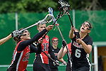 GER - Hannover, Germany, May 30: During the Women Lacrosse Playoffs 2015 match between DHC Hannover (black) and SC Frankfurt 1880 (red) on May 30, 2015 at Deutscher Hockey-Club Hannover e.V. in Hannover, Germany. Final score 23:3. (Photo by Dirk Markgraf / www.265-images.com) *** Local caption *** Magdalena Heiser #20 of SC 1880 Frankfurt, Regina Flatken #6 of DHC Hannover