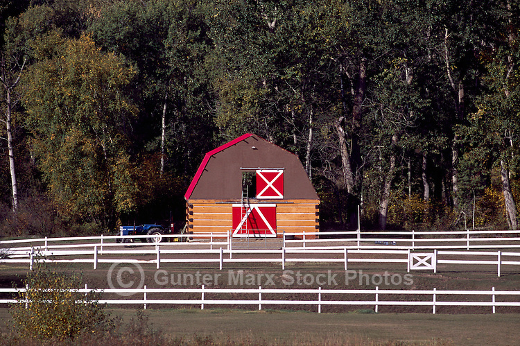 Log Barn and White Fence, Northern BC, British Columbia, Canada, Summer
