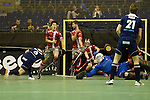 Berlin, Germany, January 31: Joshua Delarber #6 of Rot-Weiss Koeln tries to score penalty corner during the 1. Bundesliga Herren Hallensaison 2014/15 semi-final hockey match between Rot-Weiss Koeln (dark blue) and Club an der Alster (red) on January 31, 2015 at the Final Four tournament at Max-Schmeling-Halle in Berlin, Germany. Final score 4-3 (2-2). (Photo by Dirk Markgraf / www.265-images.com) *** Local caption ***