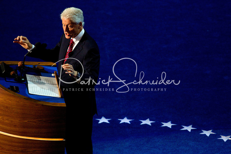 Former president Bill Clinton during the 2012 Democratic National Convention at the Time Warner Center on September 5, 2012 in Charlotte, North Carolina.
