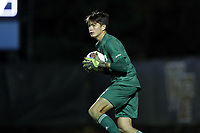 WINSTON-SALEM, NC - DECEMBER 07: Ben Roach #1 of the University of California Santa Barbara holds the ball during a game between UC Santa Barbara and Wake Forest at W. Dennie Spry Stadium on December 07, 2019 in Winston-Salem, North Carolina.