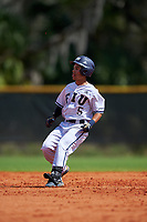 FIU Panthers second baseman Derek Cartaya (5) running the bases during a game against the South Dakota State Jackrabbits on February 23, 2019 at North Charlotte Regional Park in Port Charlotte, Florida.  South Dakota defeated FIU 4-3.  (Mike Janes/Four Seam Images)