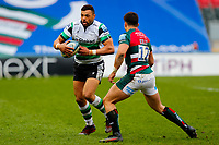 28th March 2021; Mattoli Woods Welford Road Stadium, Leicester, Midlands, England; Premiership Rugby, Leicester Tigers versus Newcastle Falcons; Luther Burrell of Newcastle Falcons looks to beat Dan Kelly of Leicester Tigers