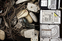 Computer mice and hard drives on sale at Agbogbloshie dump, which has become a dumping ground for computers and electronic waste from all over the developed world. Hundreds of tons of e-waste end up here every month. It is broken apart, and those components that can be sold on, are salvaged.